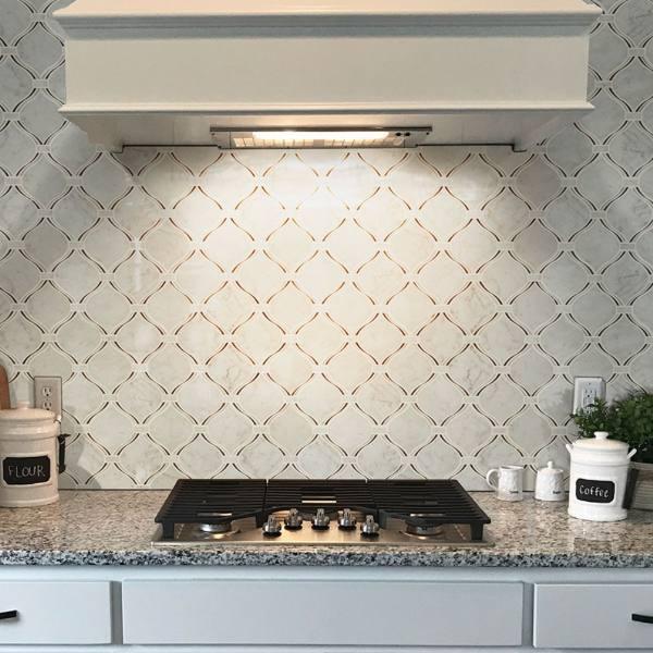 gray marble tile kitchen backsplash