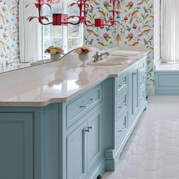 curve+edge white quartz in floral bathroom