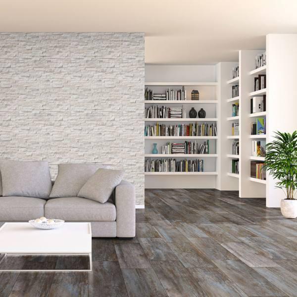 worn metal look tile flooring