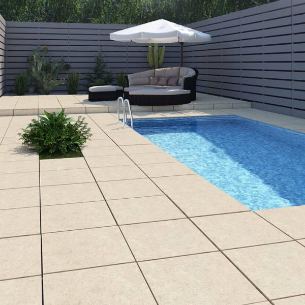 travertine look porcelain tile for poolside patio
