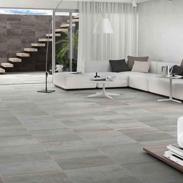 metallic look tile flooring in minimalist living+room