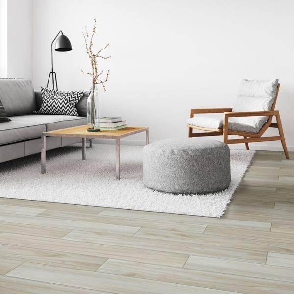 creme wood colored porcelain tile in minimalist living room