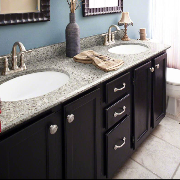 Prefabricated granite countertop in kitchen