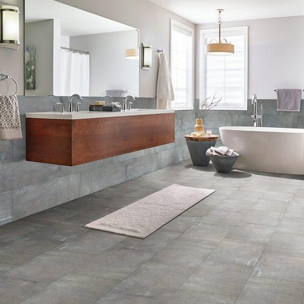 cement look porcelain tile on bathroom floor