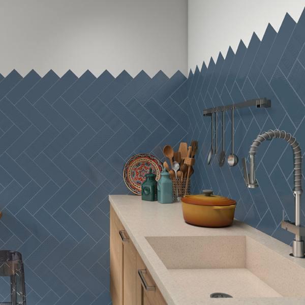 diagonal subway tile backsplash in blue