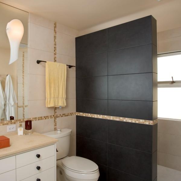 enlarged black tile shower wall divider
