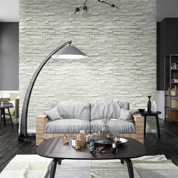 stacked stone white wall