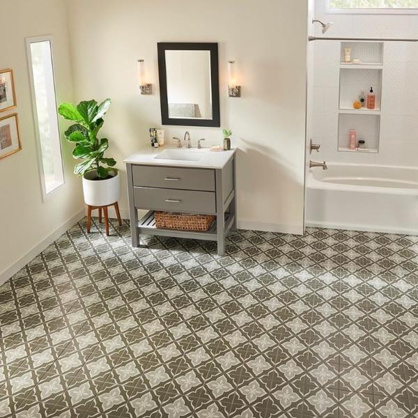 retro look porcelain bathroom floor