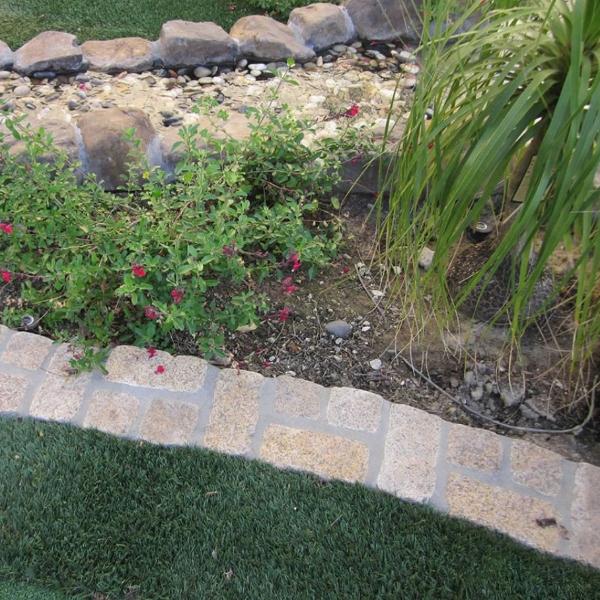 cobblestone garden surround and edging