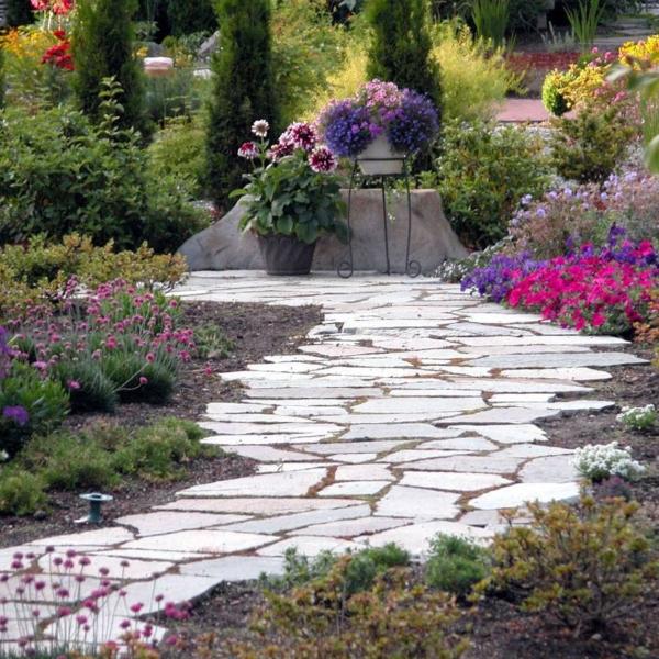 flagstone pathway in english garden