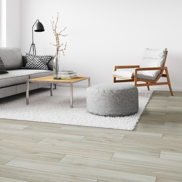 muted cream colored porcelain wood plank tile