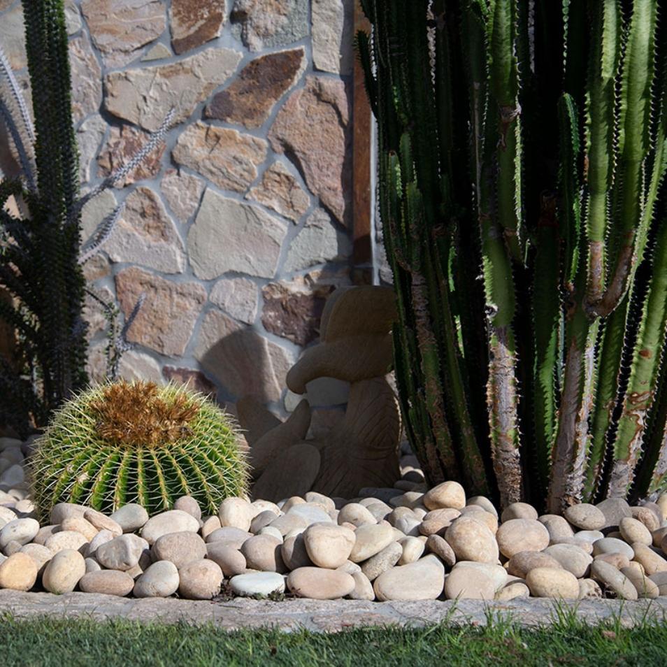 yellow pebbles river rock garden cover