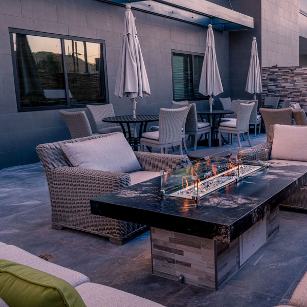gray porcelain paver tile in hotellounge