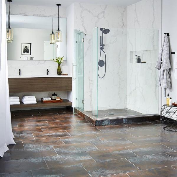 metal look bathroom tile flooring