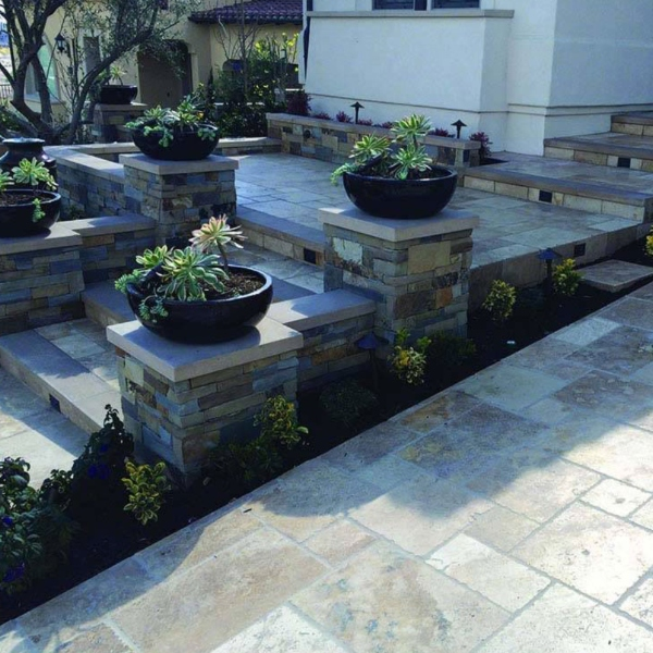 travertine paver with garden walkway