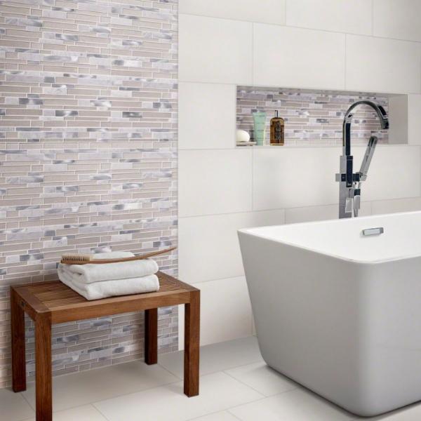 white tile wall in modern bathroom