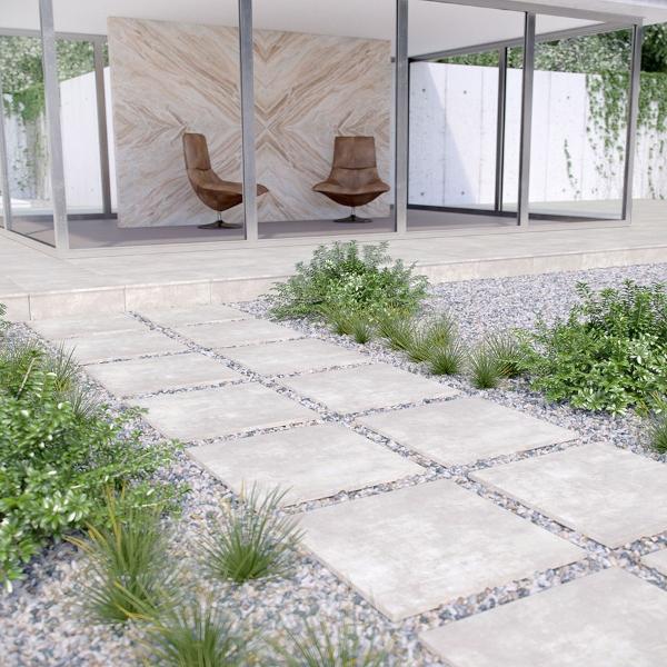 pavers porcelain with pebble walkway