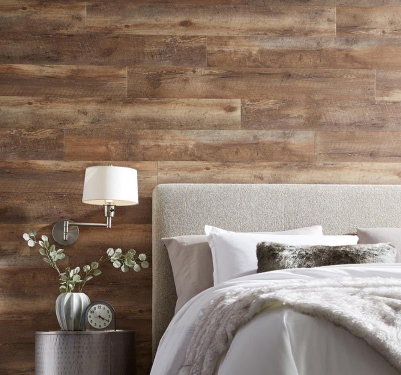 vintage look lvt wall in bedroom