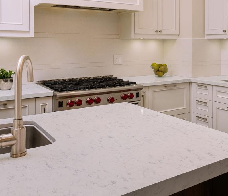 marble look quartz in all white kitchen