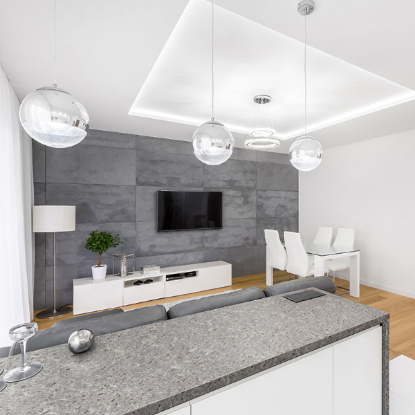 speckled grey granite counter in grey and white room