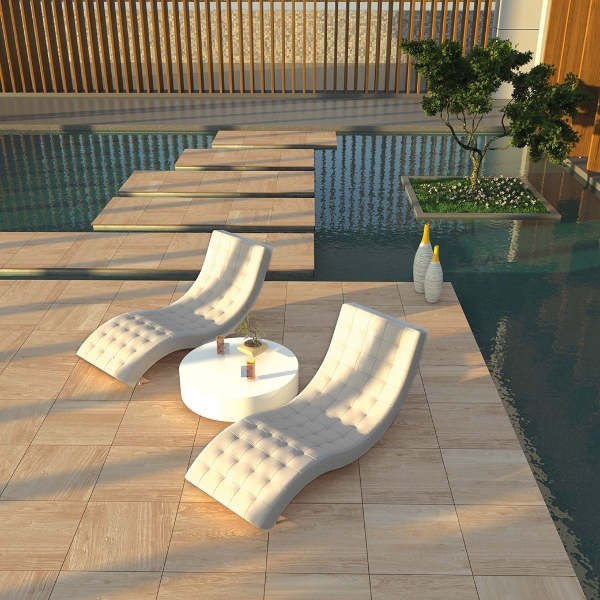 arterra pavers in porcelain surrounding water feature