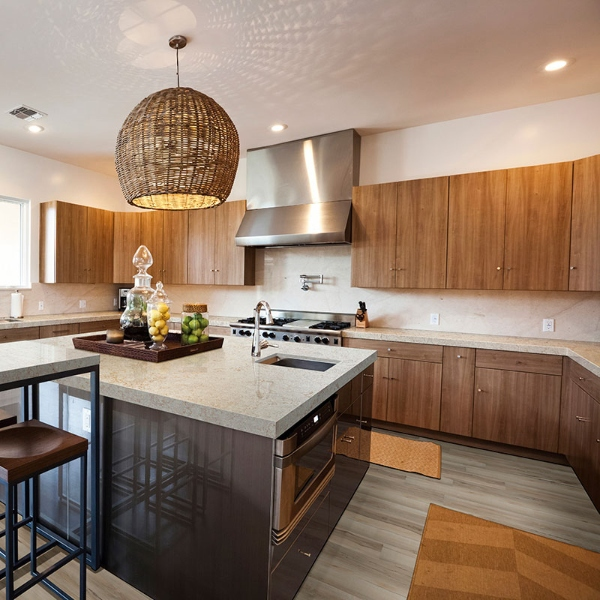 natural wood modern kitchen in neutral tone