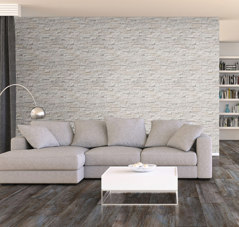 stacked stone white wall in the living room