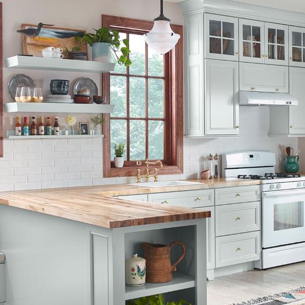 porcelain worn look brick tile kitchen backsplash