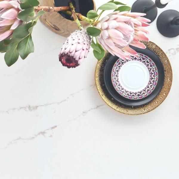 soft marble veining on quartz counter
