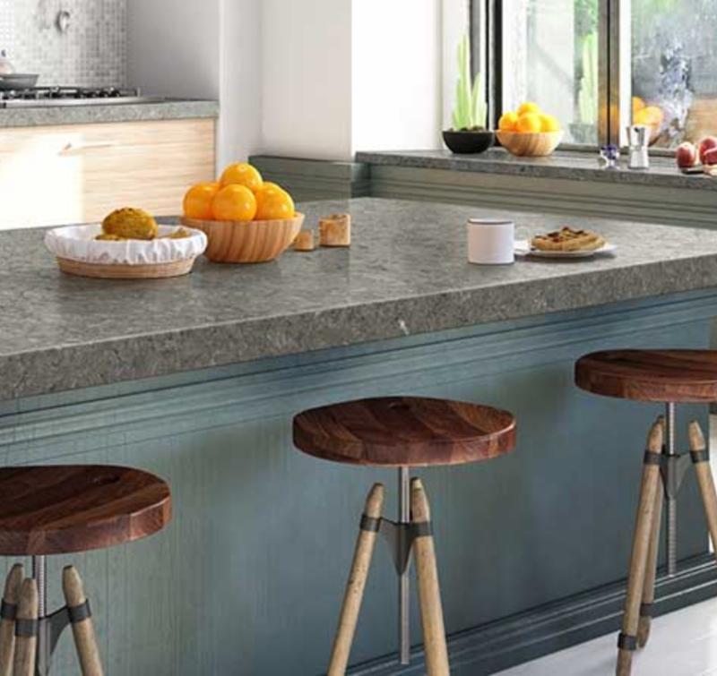 gray thick quartz slab kitchen