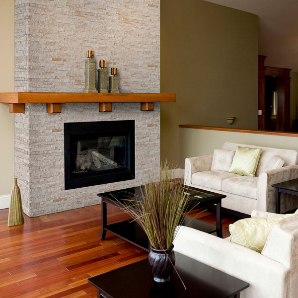 Whitewashed Brick with Modern Stacked Stone