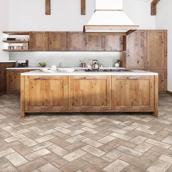 porcelain brick look tile kitchen flooring