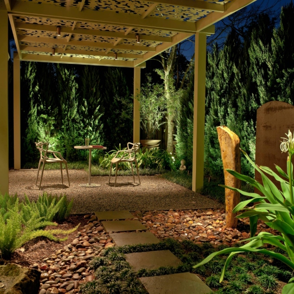 river rock pathway to patio