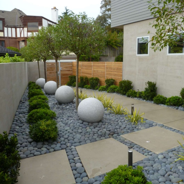 rock garden pathway side yard