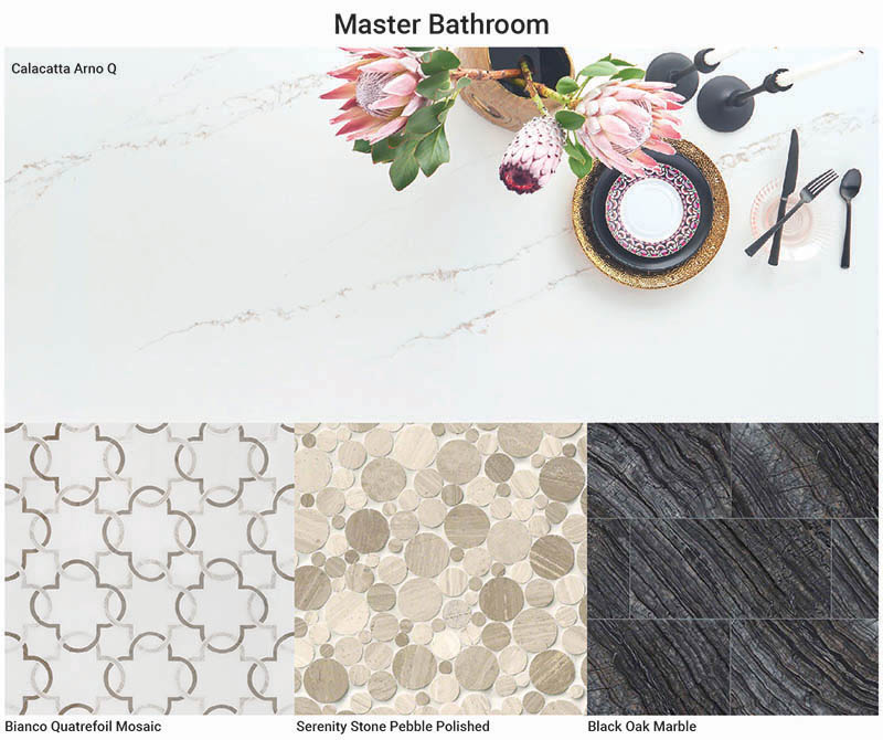 Black Oak Marble, Bianco Quatrefoil And Serenitypebble