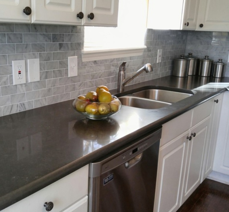 darl gray limstone look quartz countertop