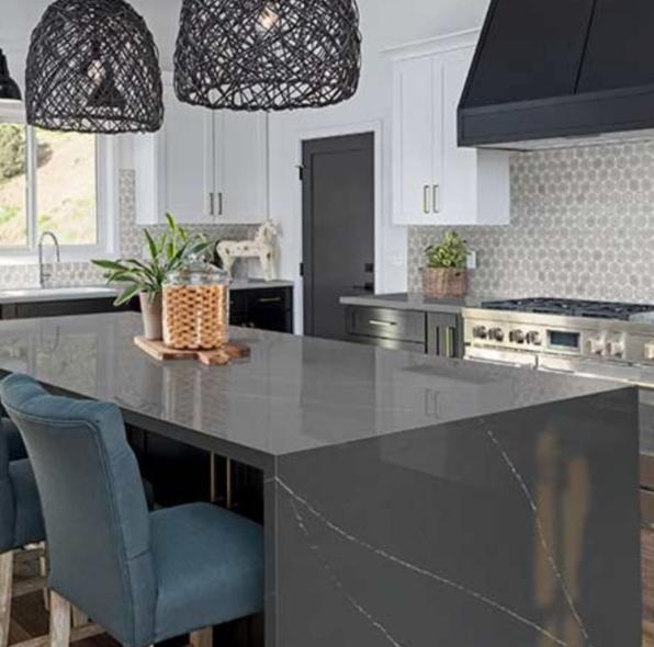 urban modern kitchen with quartz counter