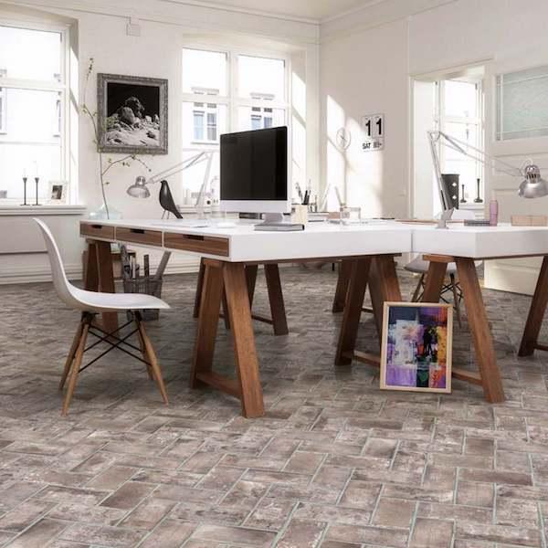 brick look flooring with porcelain tile