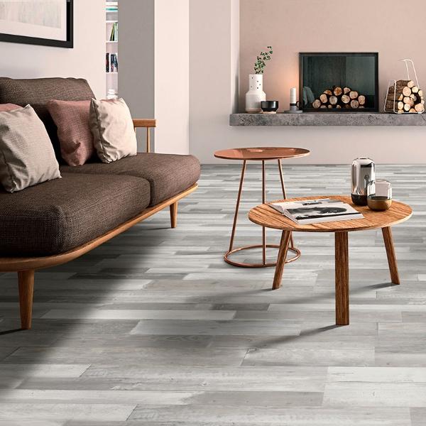 ash grey vinyl flooring with minimalistic decor
