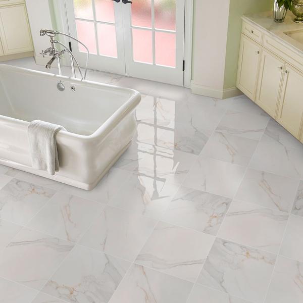 porcelain polished marble look bathroom flooring