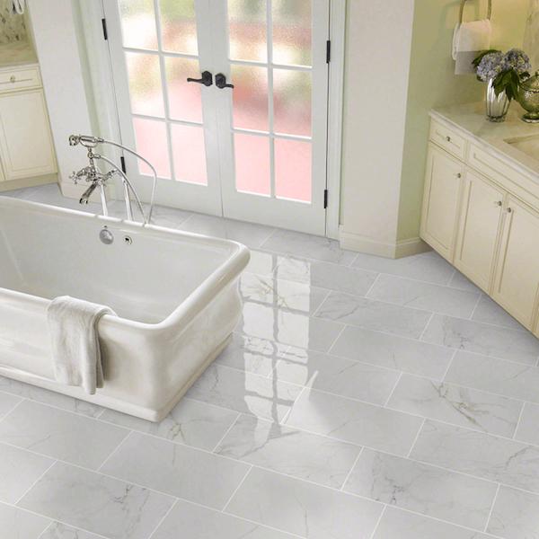 porcelain marble in elegant bathroom and free standing tub
