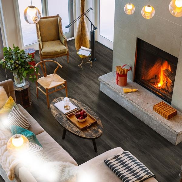 vinyl plank flooring with fireplace