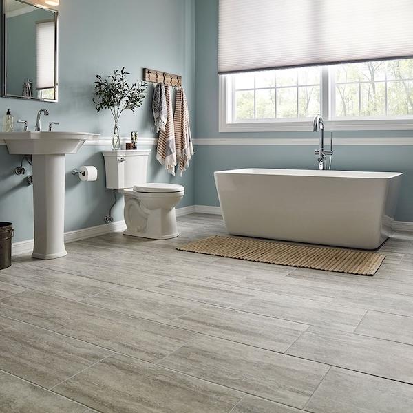 travertine look porcelain flooring in spa bathroom