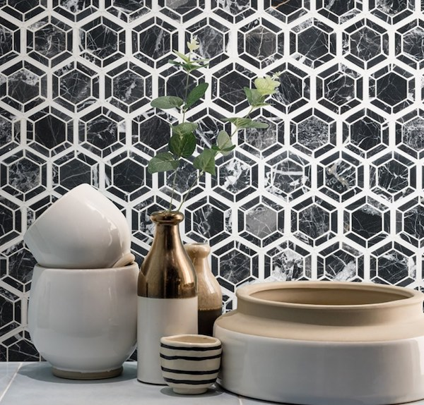 modern vintage hexagon tile backsplash