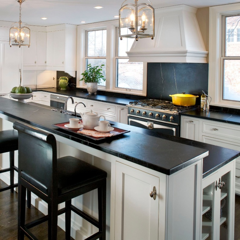 concrete matte looking dark quartz kitchen counter