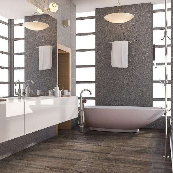 stone look porcelain in sleek bathroom