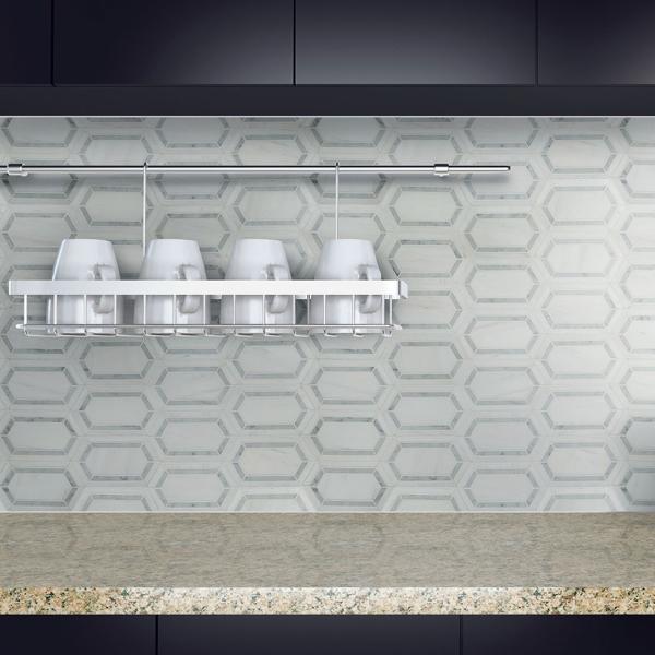 polished marble unique pattern mosaic backsplash