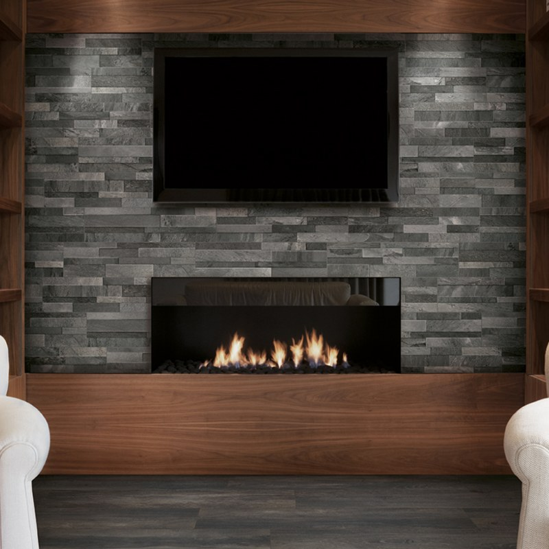 dark gray porcelain stacked tile fireplace