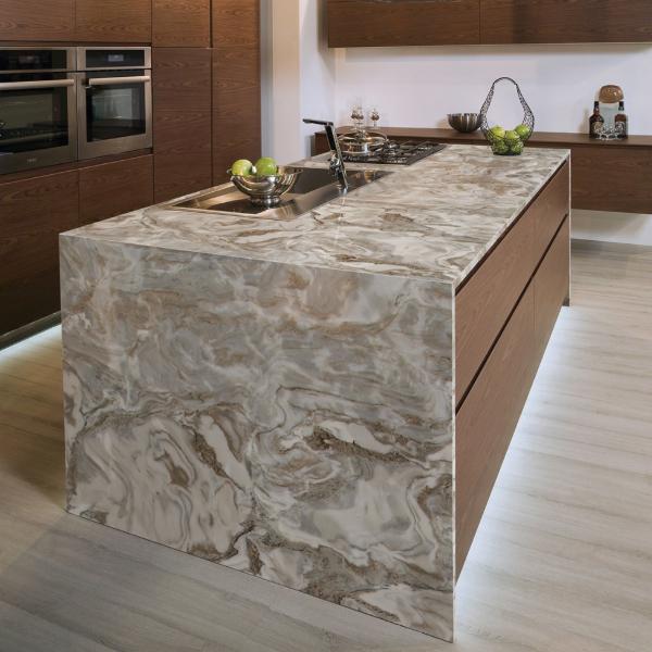 waterfall edge tan marble kitchen countertop