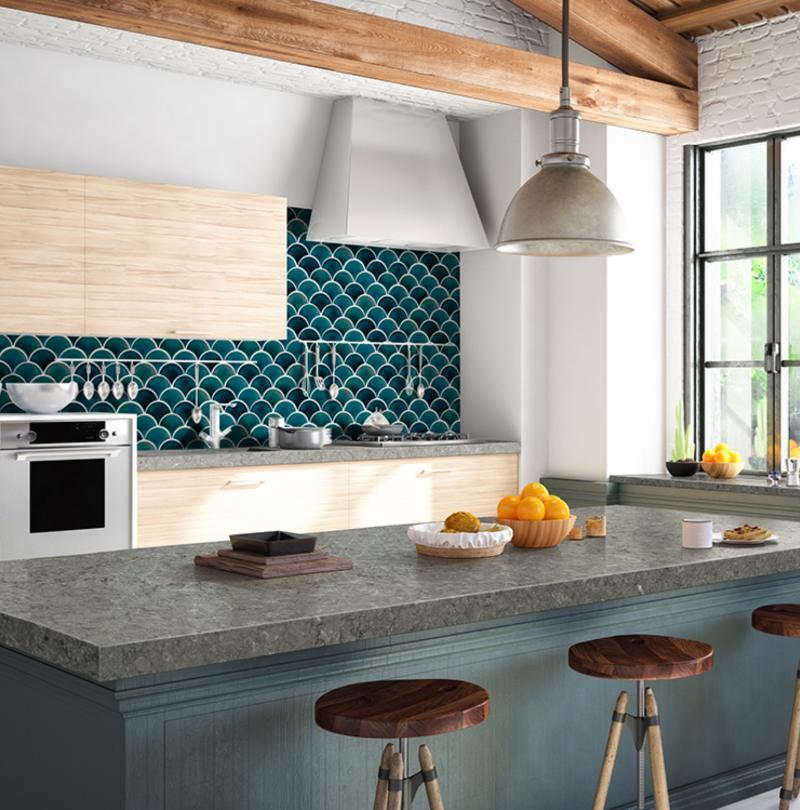 azul scallop mosaic backsplash tile